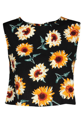 View Item Open Back Sunflower Print Crop Top